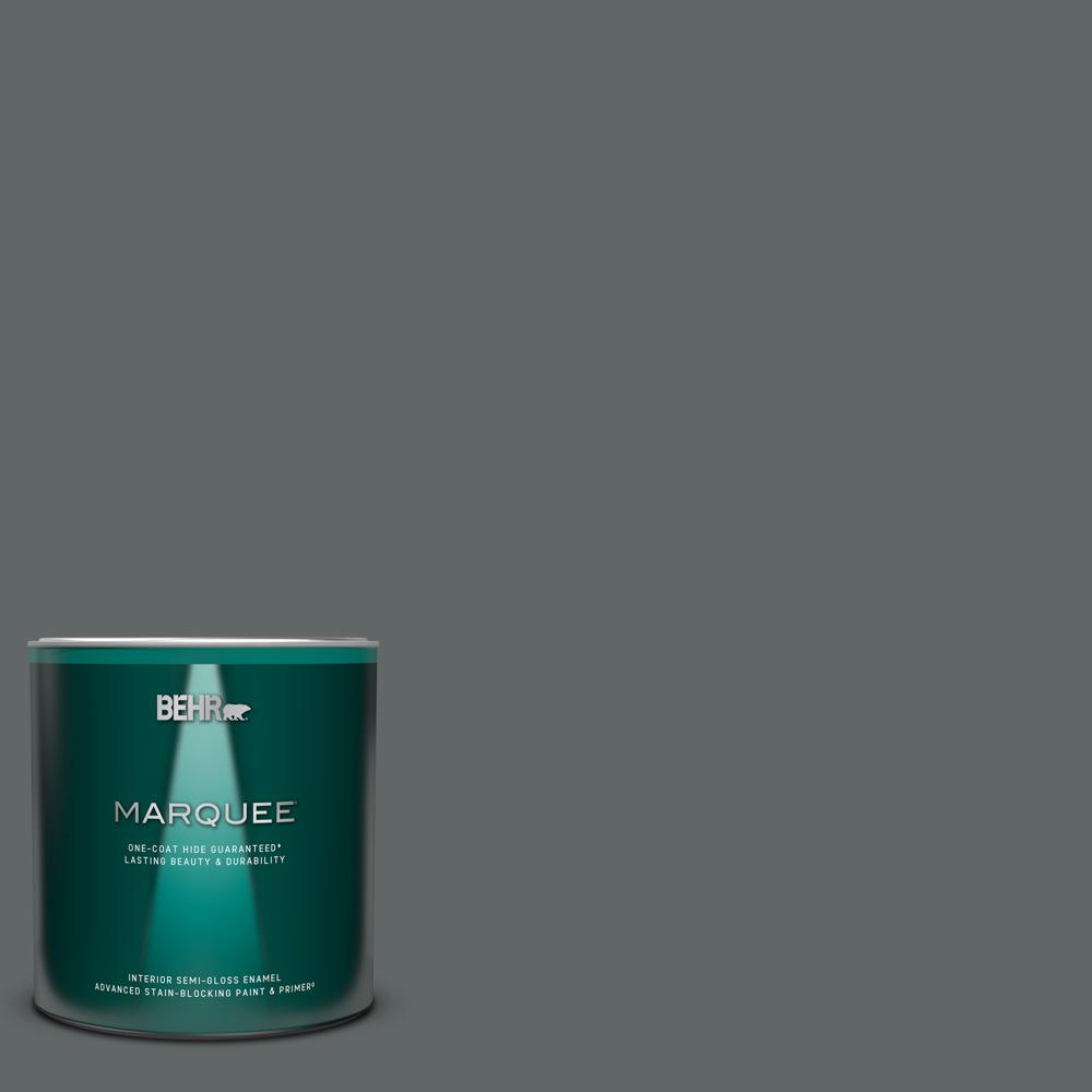 BEHR MARQUEE 1 qt. #N450-6 Binary Star One-Coat Hide Semi-Gloss Enamel Interior Paint and Primer in One