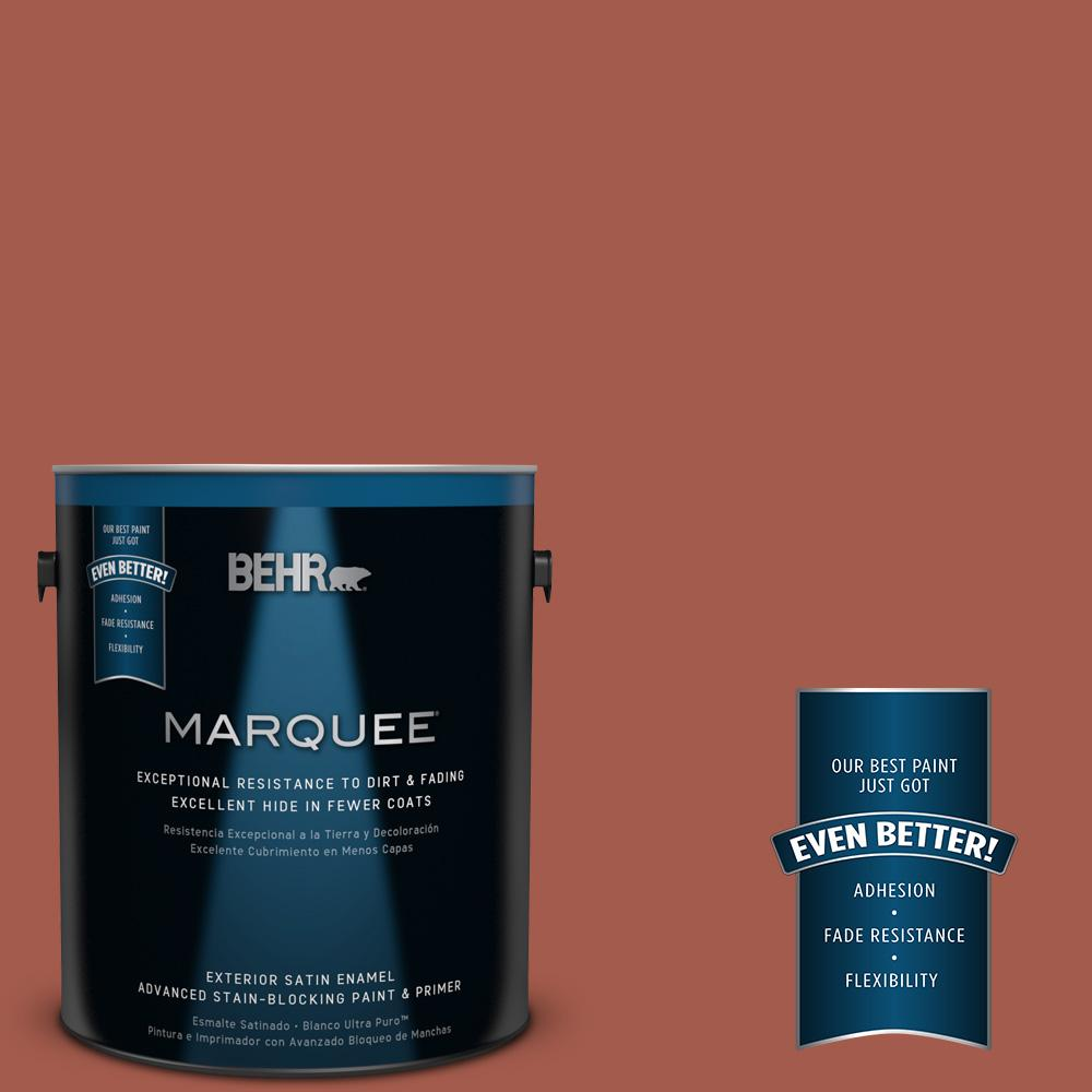 BEHR MARQUEE 1-gal. #PPU2-15 Cajun Red Satin Enamel Exterior Paint