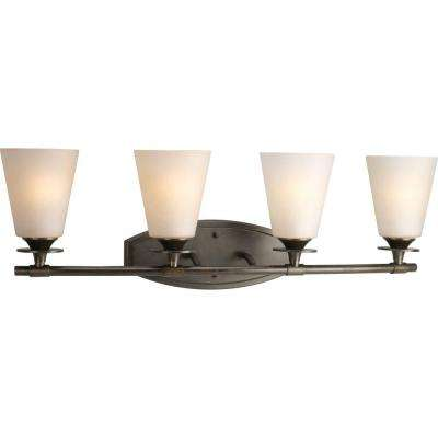 Cantata Collection 4-Light Forged Bronze Vanity Light with Seeded Topaz Glass Shades