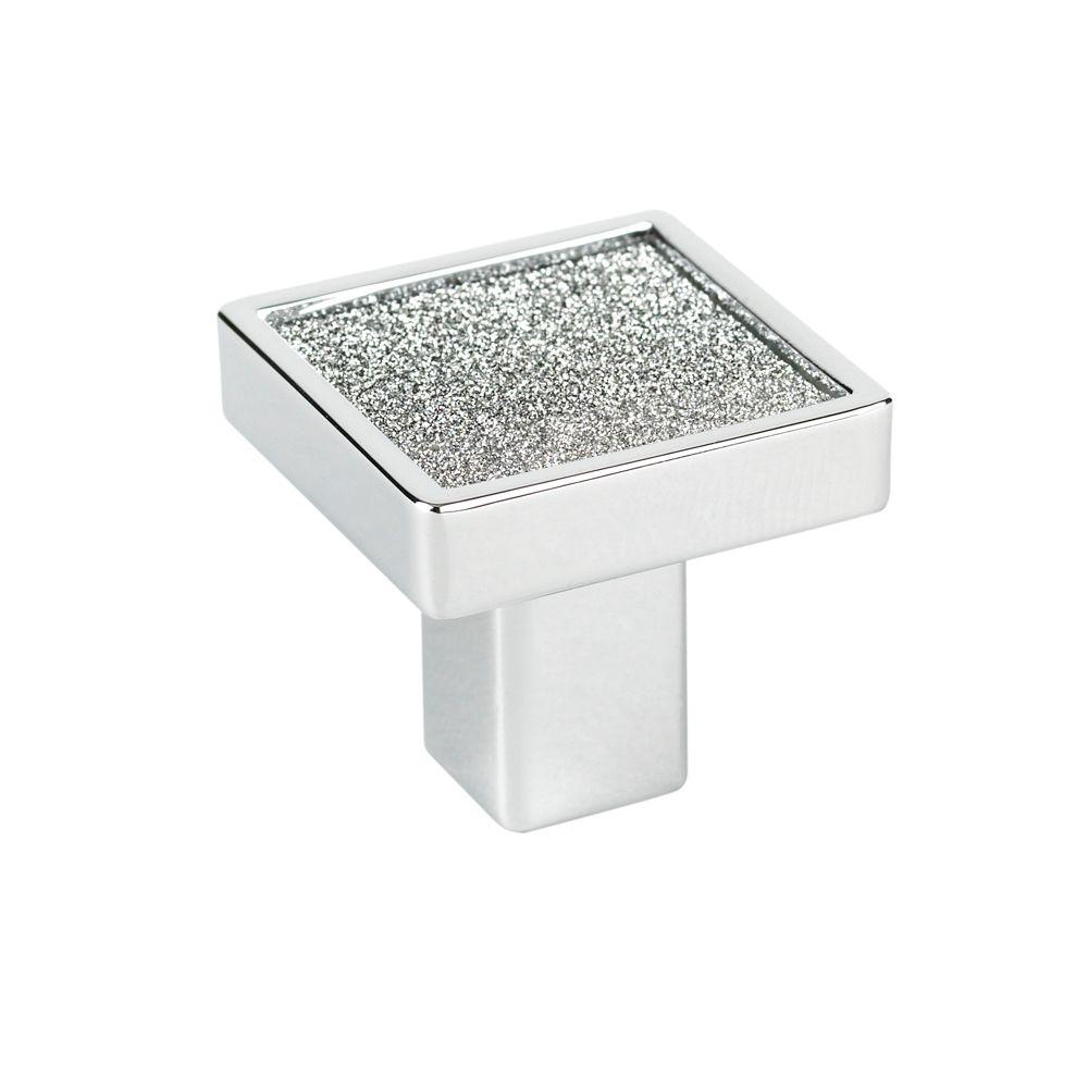 Crystal Collection 1 in. Chrome and Sparkling Crystal Square Knob
