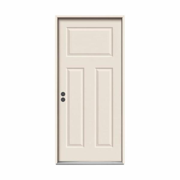 36 in. x 80 in. 3-Panel Craftsman Primed Right-Hand Inswing Steel Prehung Front Door w/Brickmould