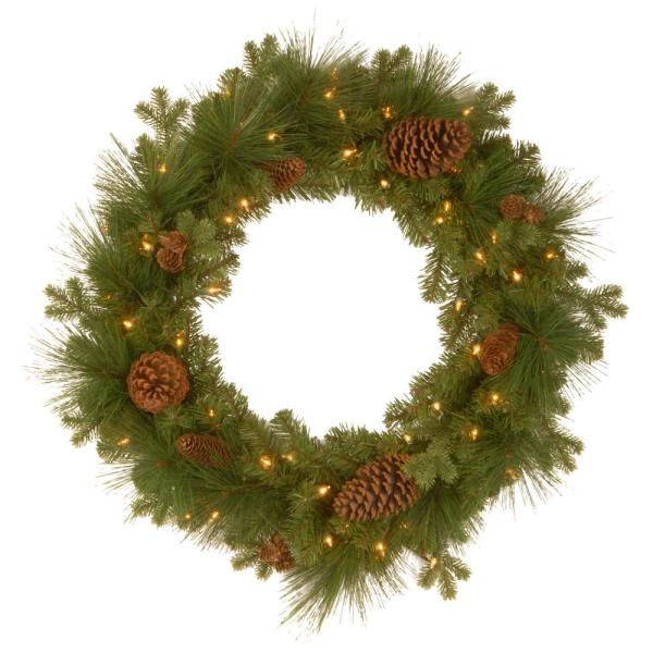 National Tree Company 24 In Frosted Arctic Spruce Artificial Wreath With Clear Lights Pefa1 307 24w 1 The Home Depot