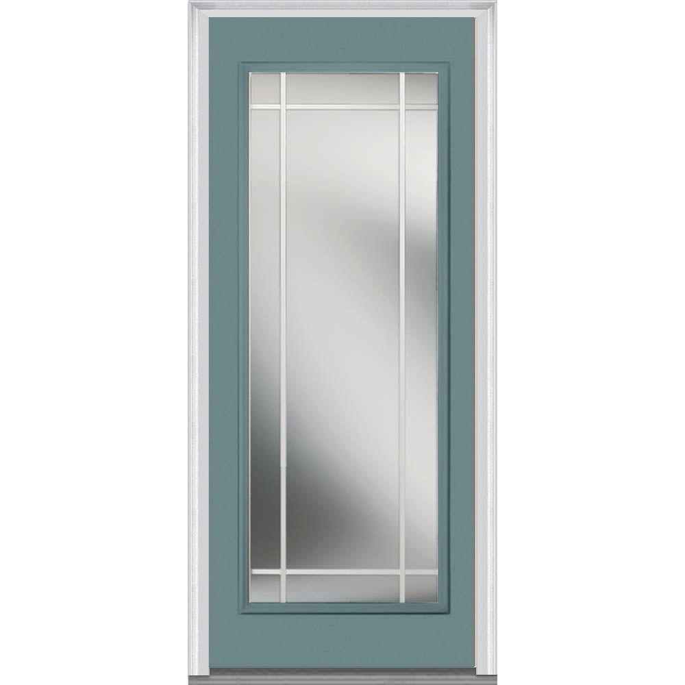 Mmi Door 30 In X 80 In Prairie Internal Muntins Left Hand Inswing Full Lite Clear Painted
