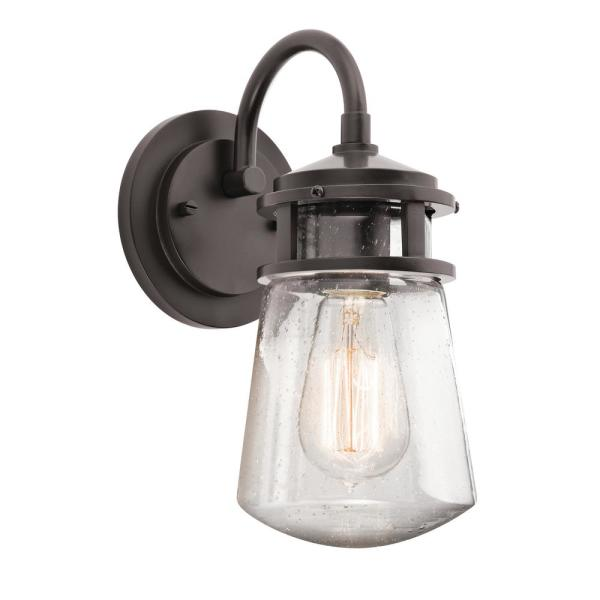 Lyndon 1-Light Architectural Bronze Outdoor Sconce with Clear Seeded Glass