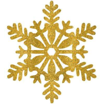 11 in. Gold Glitter Snowflake Decorations (5-Pack)