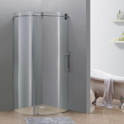 Orbitus 36 in. x 36 in. x 75 in. Completely Frameless Round Shower Enclosure in Chrome with Right Opening