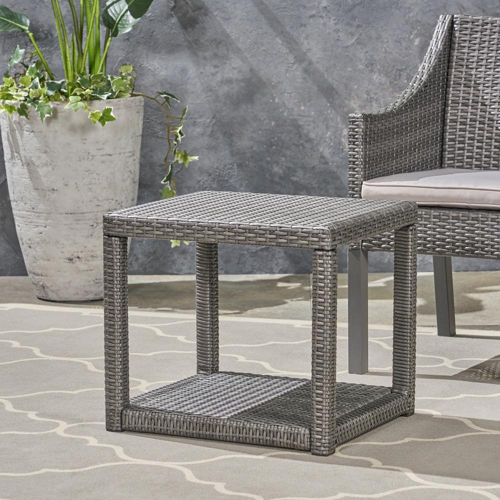 Boracay Grey Wicker Outdoor Accent Table