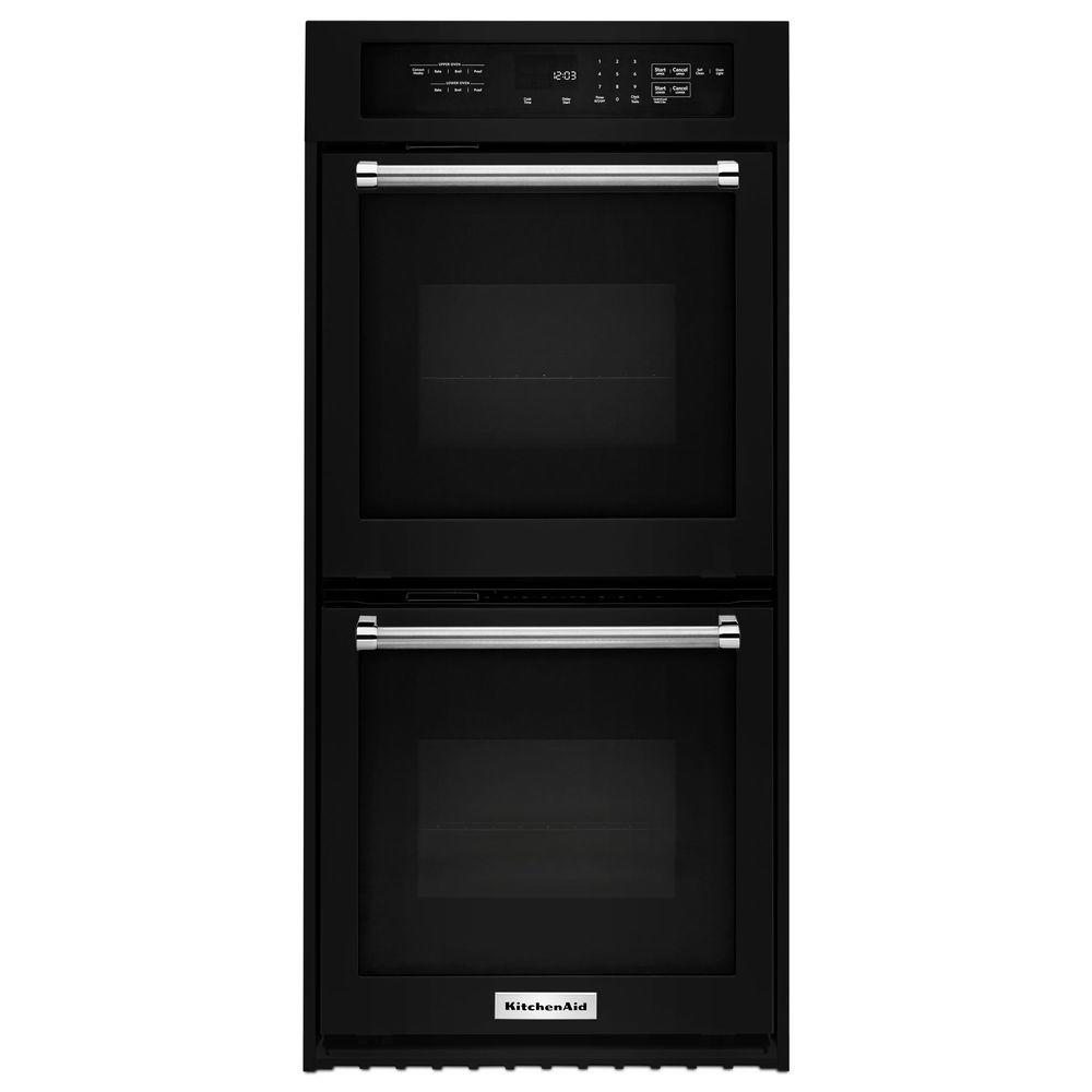 Attrayant KitchenAid 24 In. Double Electric Wall Oven Self Cleaning With Convection  In Black