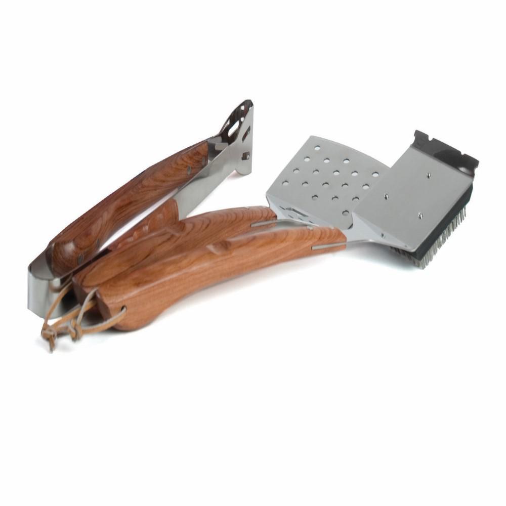 (3-Piece) Vineyard Safe-Scrub BBQ Tool Set