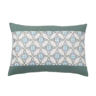 Whistler 16 in. x 24 in. Blue Geometric Pillow Cover