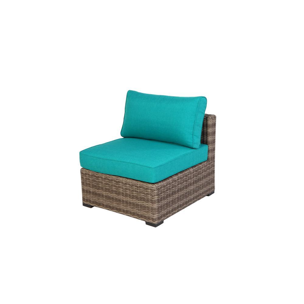 Hampton Bay Muirwood 2 Piece Aluminum Center Armless Chair With Blue Cushions