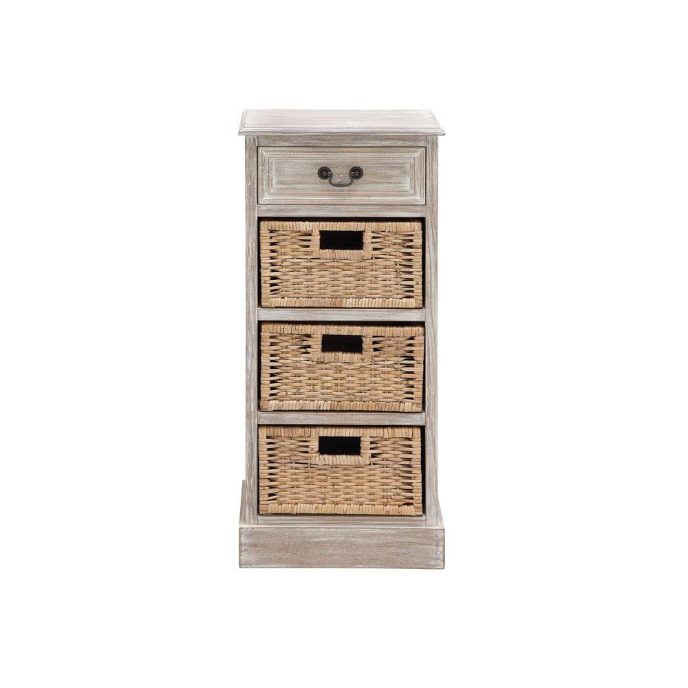 4-Drawer Whitewashed Taupe Basket Chest