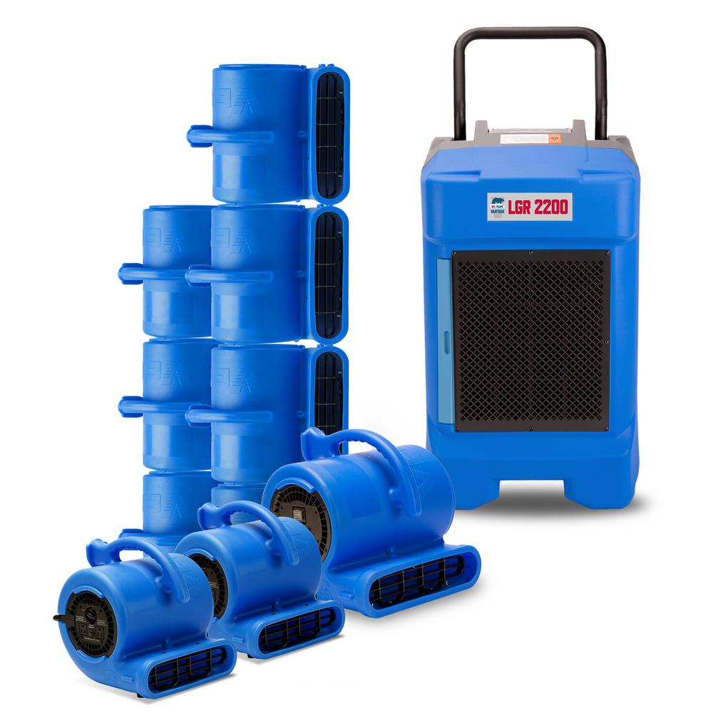 B-Air CP-2 Water Contractor Pack 1 LGR Commercial Dehumidifier 8 Air Mover 2 Mini Air Mover, Blue These packs are designed with the water damage restoration professional in mind. Whether you are starting a new water damage restoration business or want to add to your already existing line of equipment, the B-Air Contractor Packs offer you a variety of combinations. This includes air movers, commercial dehumidifiers as well as air scrubbers with special value pricing. Color: Blue.