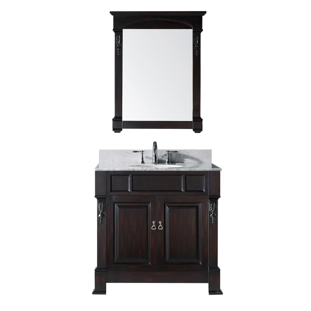 Virtu USA Huntshire 36 in. W Bath Vanity in Dark Espreso with Marble Vanity Top in White with Round Basin and Mirror