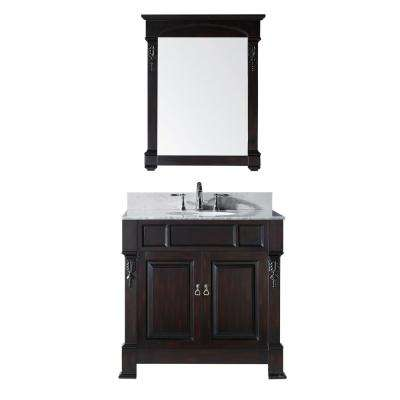 Huntshire 36 in. W Bath Vanity in Dark Espreso with Marble Vanity Top in White with Round Basin and Mirror