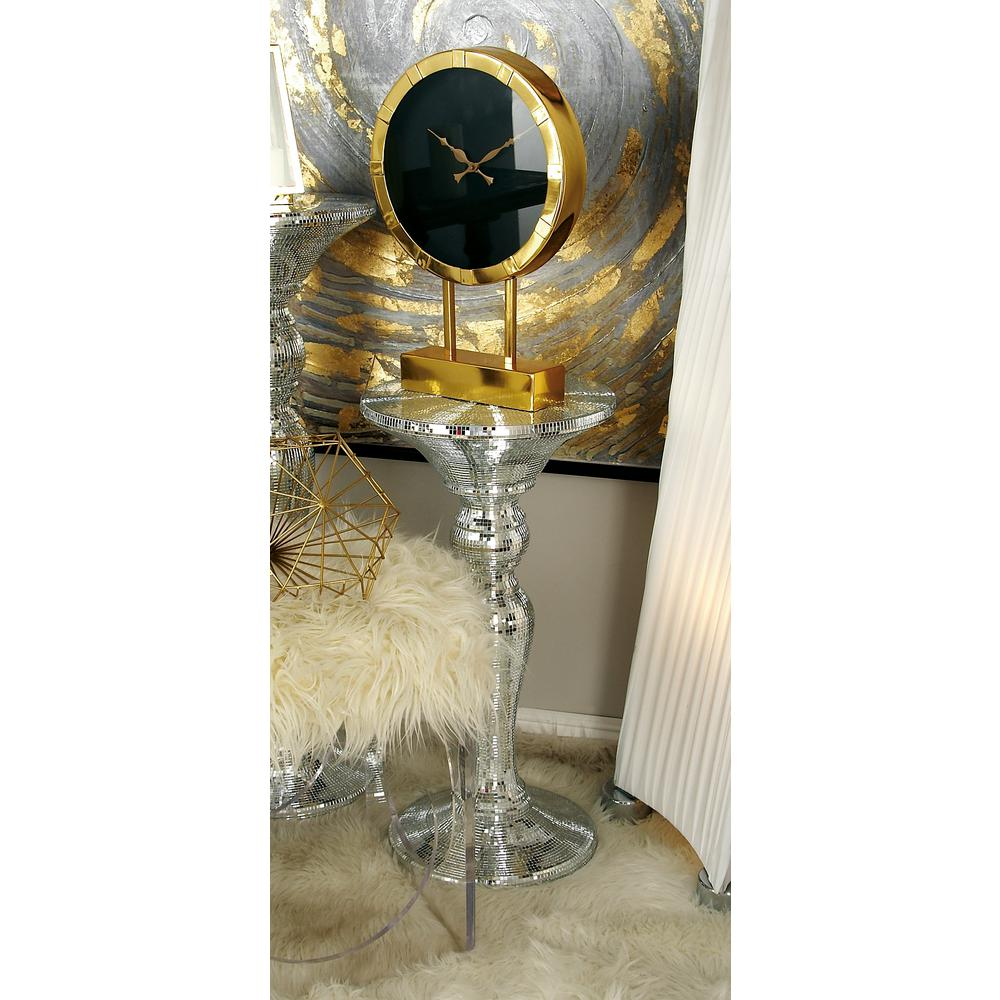 Silver Mirrored Mosaic Pedestal Accent Table The Home Depot