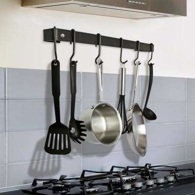 Handcrafted 36 in. Wall Rack Utensil Bar with 6-Hooks Black