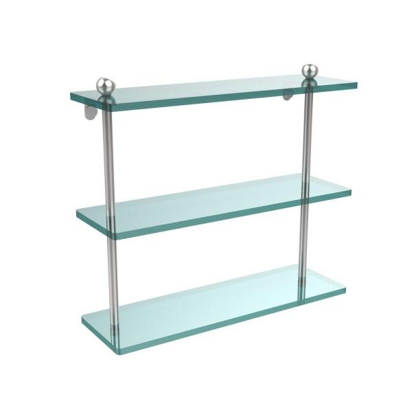 Allied Brass 16 In L X 15 In H X 5 In W 3 Tier Clear Glass Bathroom Shelf In Satin Chrome Pr 5 16 Sch The Home Depot