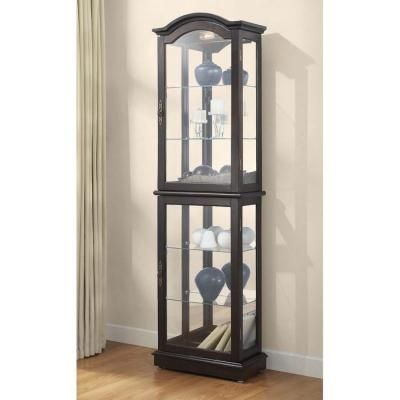 Floor Standing Walnut Lighted Curio Cabinet