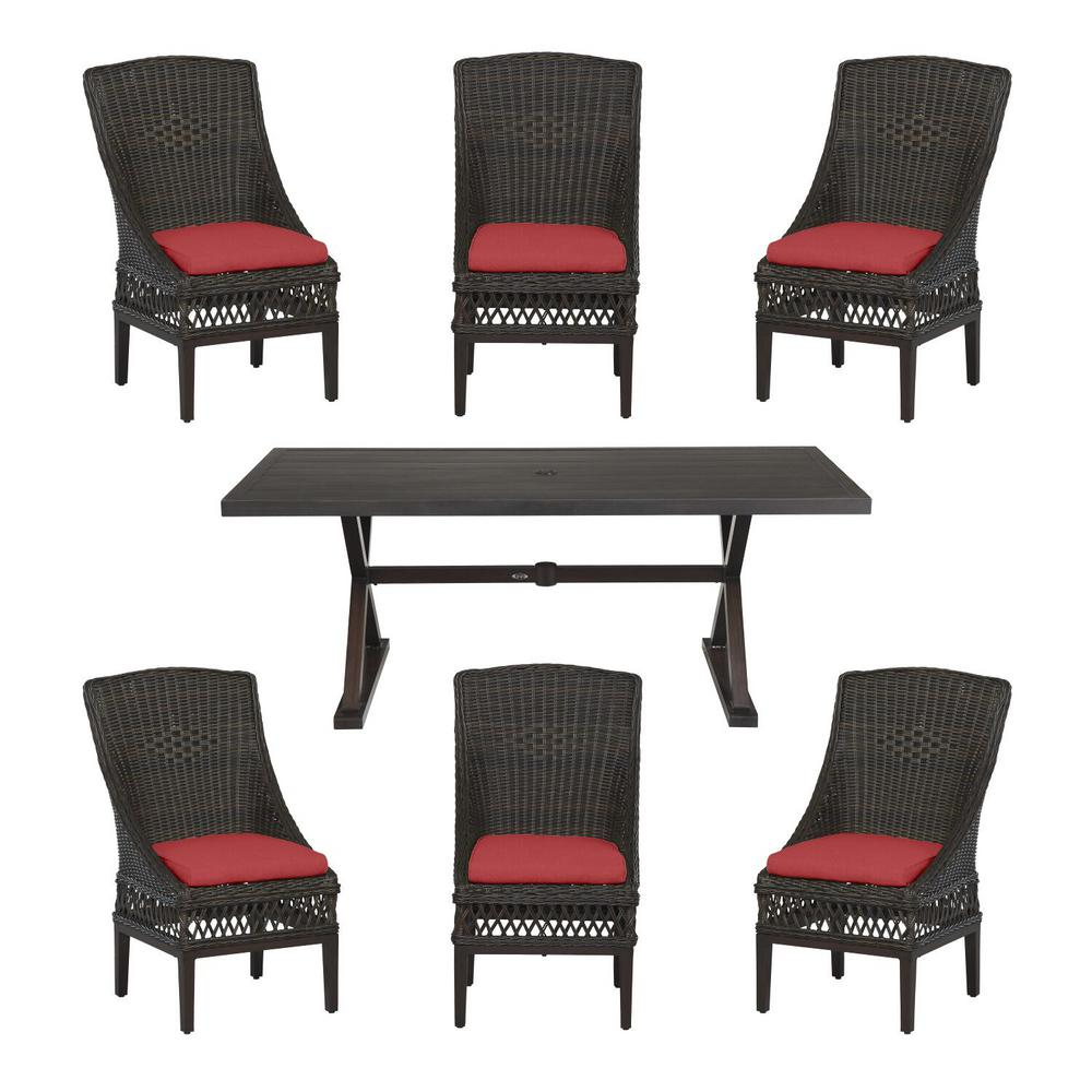 Hampton Bay Woodbury Dark Brown 7-Piece Wicker Outdoor Patio Dining Set with CushionGuard Chili Red Cushions was $1299.0 now $799.0 (38.0% off)