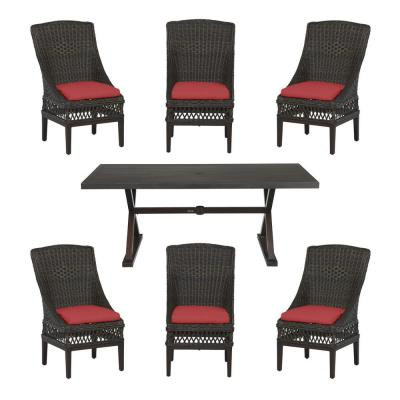Woodbury Dark Brown 7-Piece Wicker Outdoor Patio Dining Set with CushionGuard Chili Red Cushions