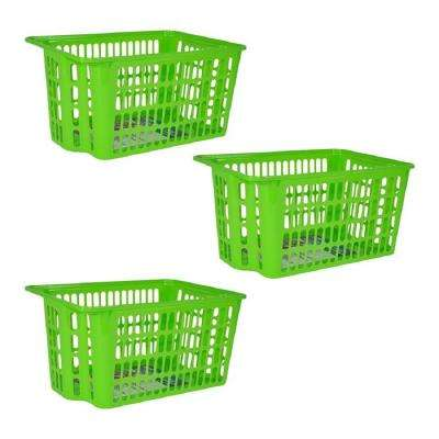 15 in. x 10.7 in. x 7.75 in. Green X-Large Stackable Basket (3-Pack)