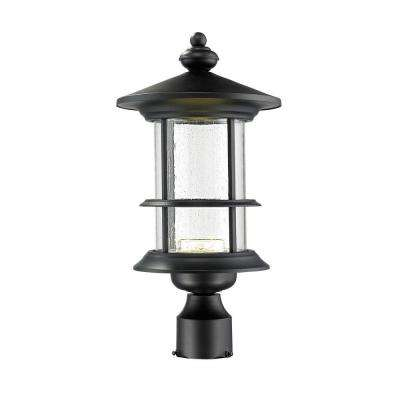 Burnim 1-Light Outdoor Black LED Post Mount with Clear Seedy Glass