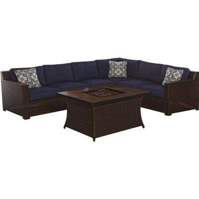 Metropolitan 6-Piece All-Weather Wicker Patio Fire Pit Seating Set with Navy Blue Cushions and Wood Grain Tile Table
