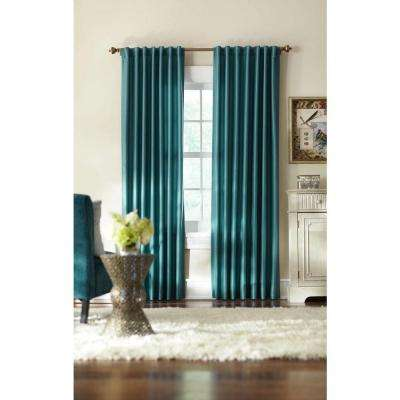 Slub Faux Silk Back Tab Curtain