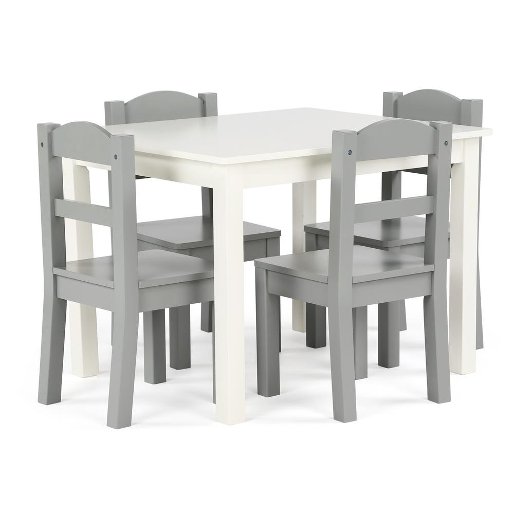 Springfield 5-Piece White/Grey Kids Table and Chair Set