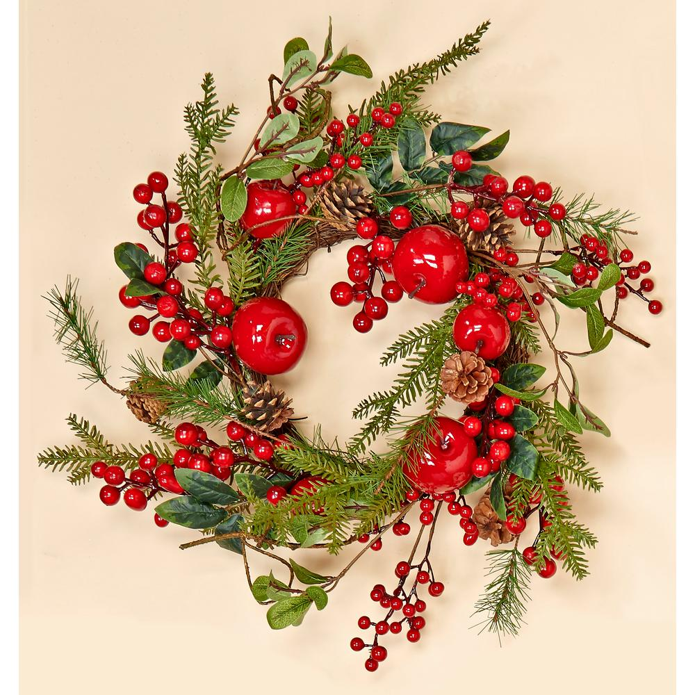 Image Christmas Wreath.20 In Weatherproof Berry And Apple Wreath