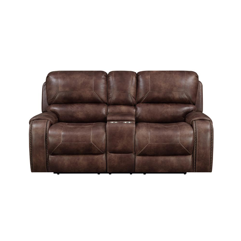 Right2home Brown Jennings Power Reclining Console Loveseat