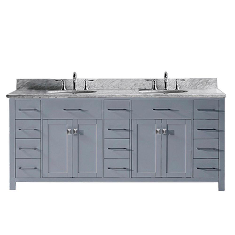 Md 2178 Wmsq Gr Italian Carrara White Marble Countertop Virtu Usa Caroline Parkway 78 Inch Double Sink Bathroom Vanity Set In Grey W Square Undermount Sink 1 Mirror No Faucet