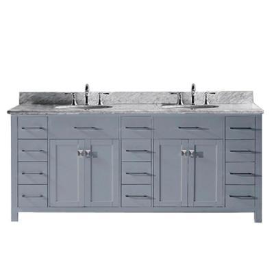 Caroline Parkway 79 in. W Bath Vanity in Gray with Marble Vanity Top in White with Round Basin