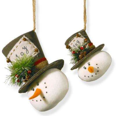 "8 in. and 5 in. Snowman with ""JOY"" on His Hat (Set of 2)"