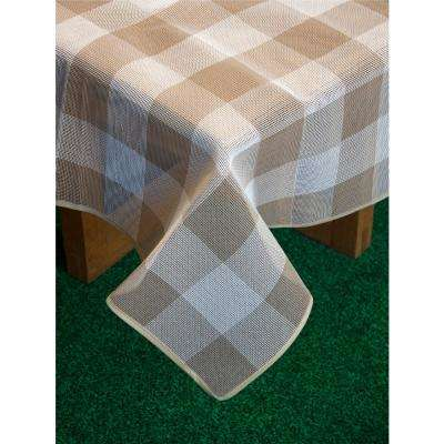Bistro Check 52 in. x 70 in. Sand Vinyl and Poly Tablecloth