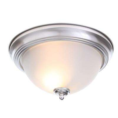 13 in. 2-Light Brushed Nickel Flushmount with Frosted Glass Shade (2-Pack)