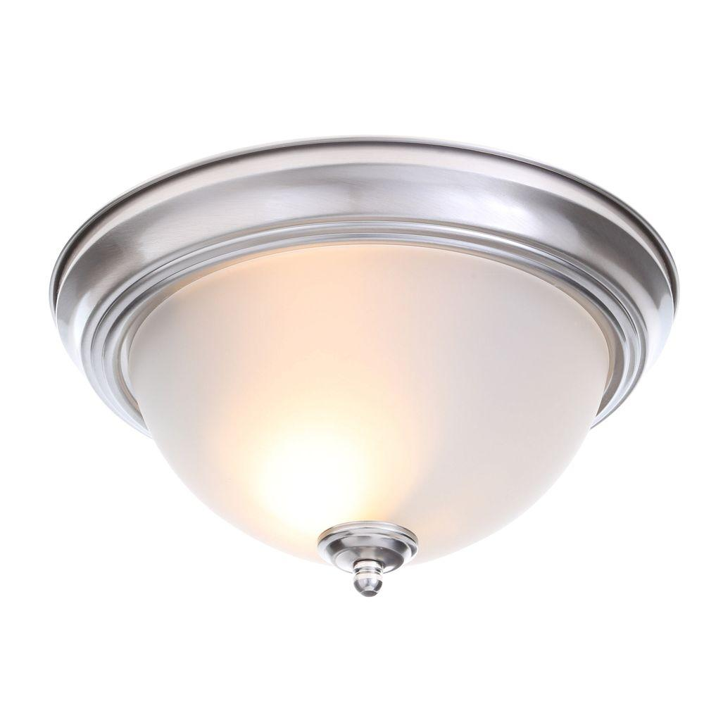 Commercial electric 13 in 2 light brushed nickel flushmount with 2 light brushed nickel flushmount with frosted glass shade arubaitofo Image collections