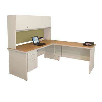D Putty And Peridot Desk With Return