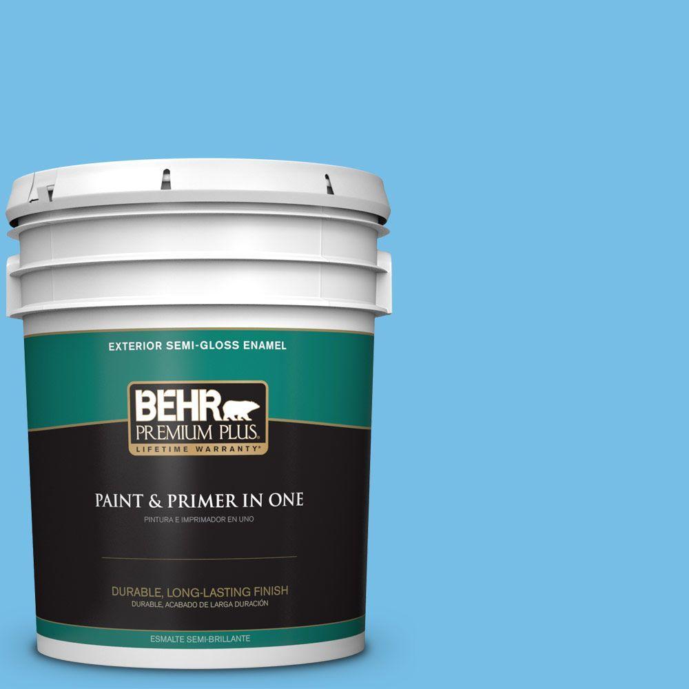 5-gal. #550B-4 Costa Rica Blue Semi-Gloss Enamel Exterior Paint