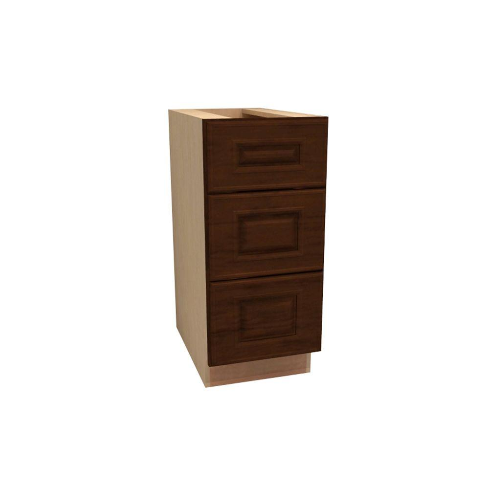 Home Decorators Collection 12x34.5x21 in. Roxbury Assembled Vanity Base Cabinet with 3 Drawers in Manganite Glaze