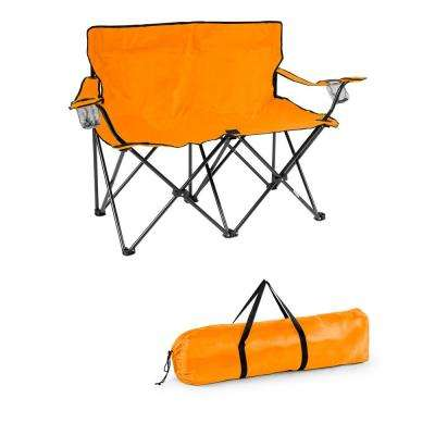 Orange 31.5 in. H Loveseat Style Steel Frame Double Camp Chair