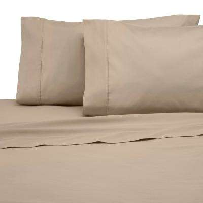 Solid Color T300 3-Piece Khaki Cotton Twin Sheet Set