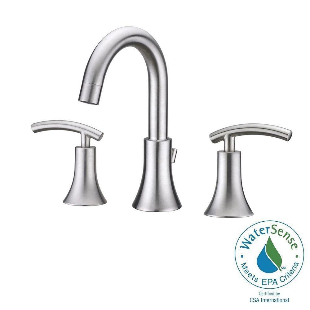 Brushed nickel widespread bathroom faucet