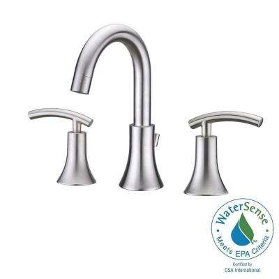 Contemporary 8 in. Widespread 2-Handle Bathroom Faucet in Brushed Nickel