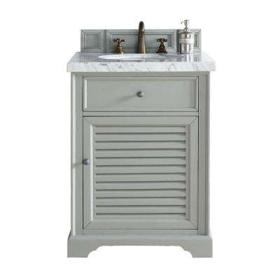 Savannah 26 in. W Single Vanity in Urban Gray with Marble Vanity Top in Carrara White with White Basin