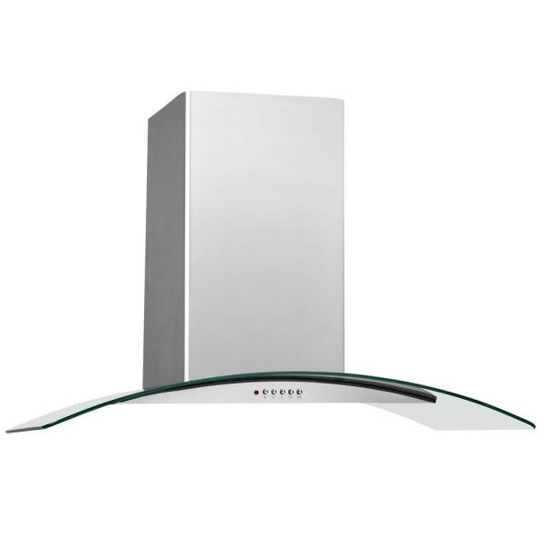 36 in. Convertible Wall Mount Chimney Range Hood in Stainless Steel with Glass Canopy