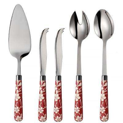 Fuji-Yama 5-Piece Red 18/0 Stainless Steel Cheese Knife, Salad and Cake Server Set