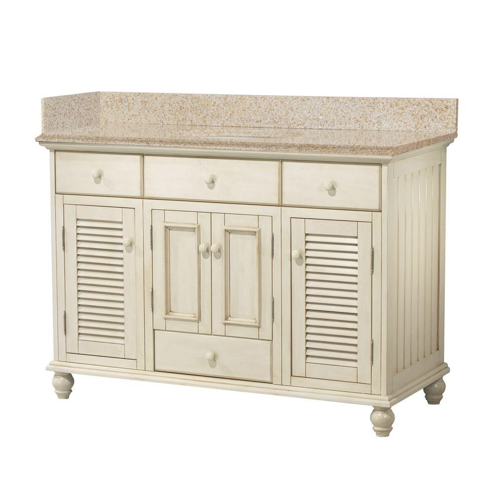 Foremost Cottage 49 in. W x 22 in. D Bath Vanity in Antique White with Granite Vanity Top in Beige