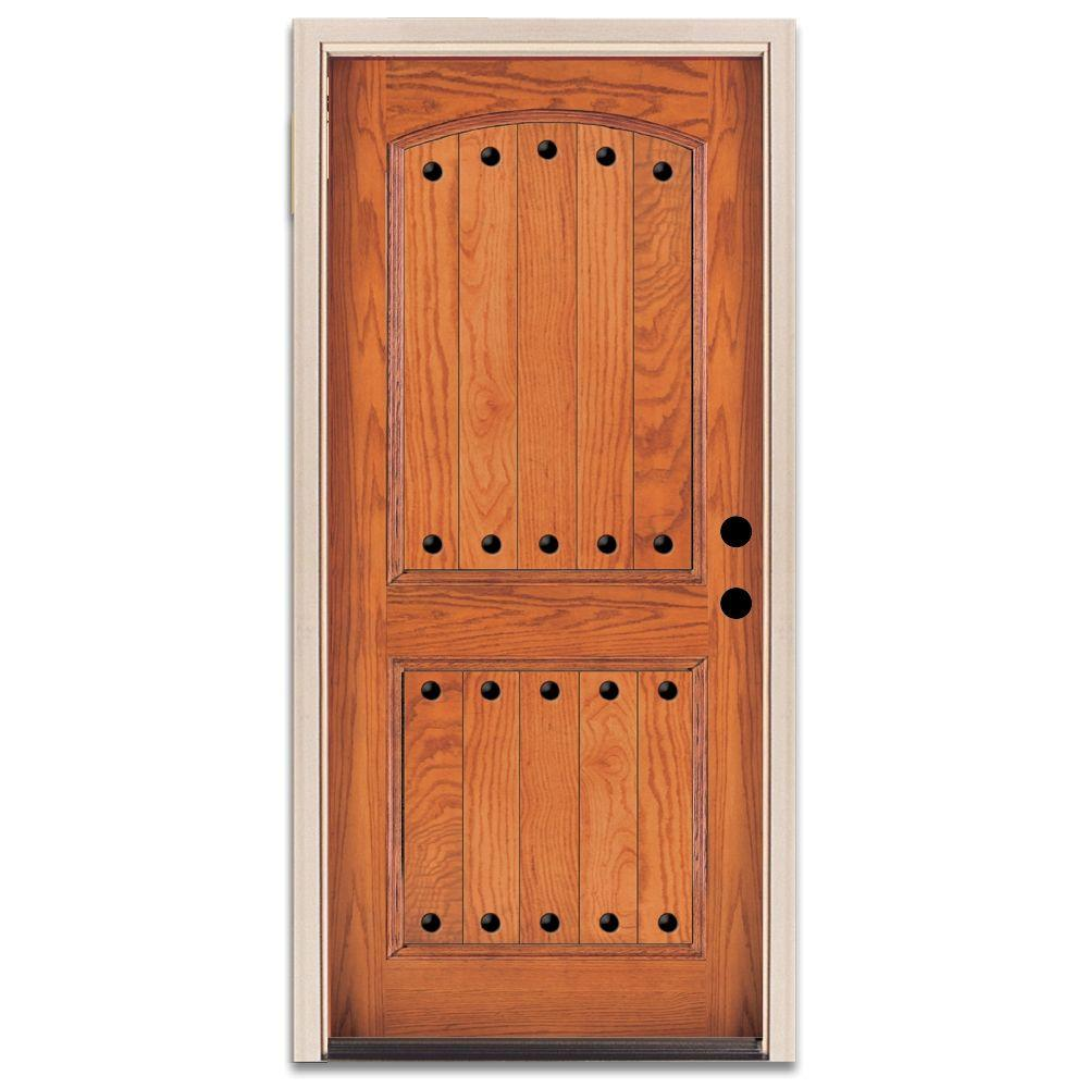 Steves & Sons Rustic 2-Panel Plank Prefinished Oak Wood Entry Door-DISCONTINUED